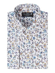 New And Lingwood Malton Floral Print Shirt White