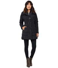 Jessica Simpson Three Clasp Breasted Down With Pillow Collar Navy Women's Coat