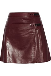 Belstaff Hampstead Leather Wrap Mini Skirt Red