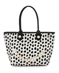 Betsey Johnson Smiley Pearl Polka Dot Tote Bag