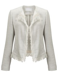 Hugo Boss Komina Textured Fringe Blazer Pebble