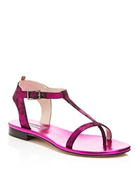 Sjp By Sarah Jessica Parker Veronika T Strap Flat Sandals Fuxia
