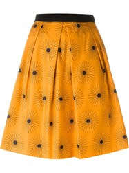 Eggs 'Carlito' Sun Print Full Midi Skirt Yellow And Orange