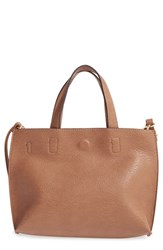 Street Level Reversible Faux Leather Crossbody Mini Tote And Wristlet Beige Tan