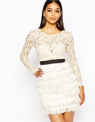 Rare London Lace Dress With Fringe Skirt Cream