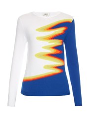 Acne Studios Okla Wave Intarsia Knit Sweater White Multi
