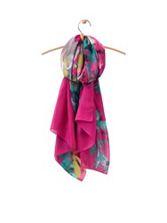 Joules Longline Printed Polyester Scarf Pink