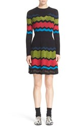 M Missoni Women's Long Sleeve Zigzag Fit And Flare Dress