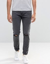 Asos Skinny Jeans With Rips In Washed Black Washed Black