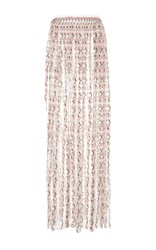 Luisa Beccaria Carnation Embroidered Long Skirt Light Pink