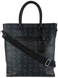 Mcm Logo Printed Shopping Bag Black