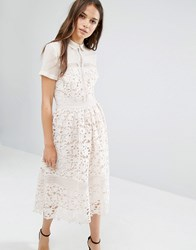 Warehouse Lace Collar Midi Dress Cream