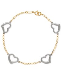 Macy's Two Tone Open Heart Link Bracelet In 14K White And Yellow Gold Two Tone