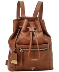Fossil Vickery Leather Drawstring Backpack Brown