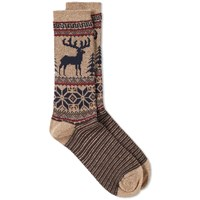 Anonymous Ism Deer Snow Jacquard Crew Sock Neutrals