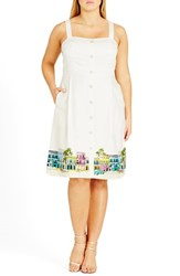City Chic Plus Size Women's 'Main Street' Border Print Sundress