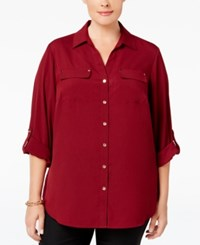 Charter Club Plus Size Utility Shirt Only At Macy's Cranberry