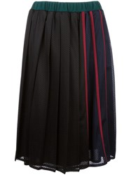 Muveil Perforated Pleated Skirt Black