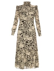 Saint Laurent Prairie Floral Print Ruffle Trimmed Crepe Dress Cream Multi