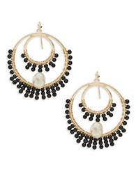 Theodora And Callum Beaded Chandelier Earrings Black