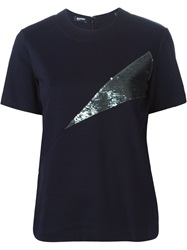 Jil Sander Navy Sequin Embellished T Shirt Blue