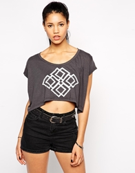 Illustrated People Maze Loose Fit Top Charcoal