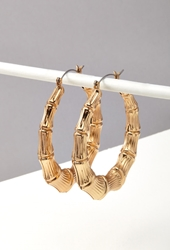 Forever 21 Bamboo Hoop Earrings Gold