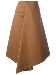 Marni Asymmetric Midi Skirt Brown