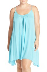 Elan Plus Size Women's Scooped Back Cover Up Slipdress Aqua