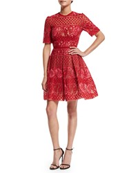 Elie Saab Crocheted Half Sleeve Fit And Flare Dress Lipstick Peony Women's Size 40