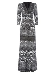 Anoushka G Eliana Print Jersey Maxi Dress Black