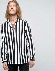 Asos Viscose Shirt In Monochrome Stripe Black White