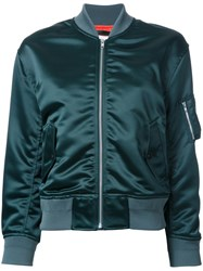 En Route Ruched Detail Bomber Jacket Green