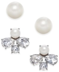 Charter Club Silver Tone 2 Pc. Imitation Pearl And Crystal Stud Earring Set Only At Macy's