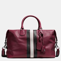 Coach Varsity Stripe Explorer Bag In Pebble Leather Black Antique Nickel Burgundy C