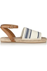 Tory Burch Striped Canvas And Leather Espadrilles White