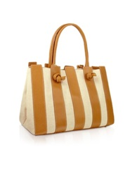 Fontanelli Canvas And Leather Italian Tote Handbag Camel