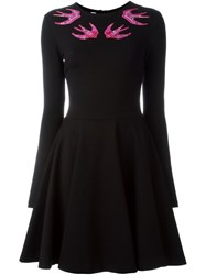 Mcq By Alexander Mcqueen Embroidered Swallow Skater Dress Black