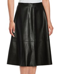 Lord And Taylor Faux Leather A Line Skirt Black