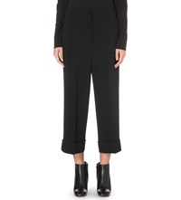 Sportmax Armonia Wide Leg Cropped Stretch Crepe Trousers Black