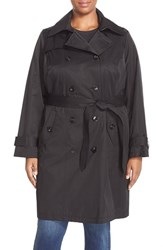 Plus Size Women's London Fog Double Breasted Trench Coat Black