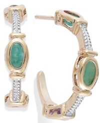 Victoria Townsend Emerald Cable C Shaped Hoop Earrings In 18K Gold Over Sterling Silver 1 3 8 Ct. T.W.