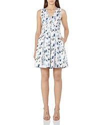 Reiss Anabella Printed Dress Royal Blue Neutral