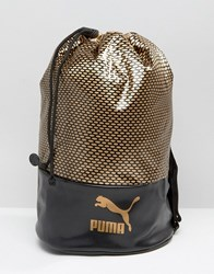 Puma Bucket Bag In Black And Gold Black