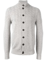 Brunello Cucinelli Cable Knit Cardigan Grey