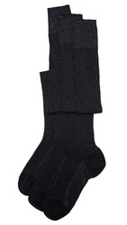 Missoni Thigh High Zig Zag Socks Black