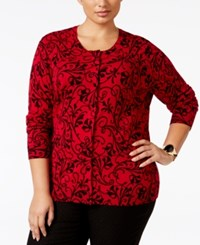 Karen Scott Plus Size Scroll Pattern Cardigan Only At Macy's New Red Amore Combo