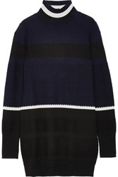 Tim Coppens Striped Merino Wool Turtleneck Sweater Midnight Blue
