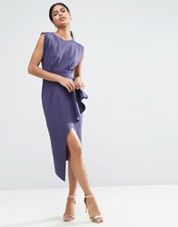 Asos Open Side Zip Front Fold Peplum Midi Dress Navy