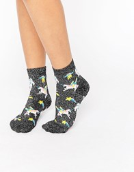 Asos Glitter Base Space Unicorn Socks Black